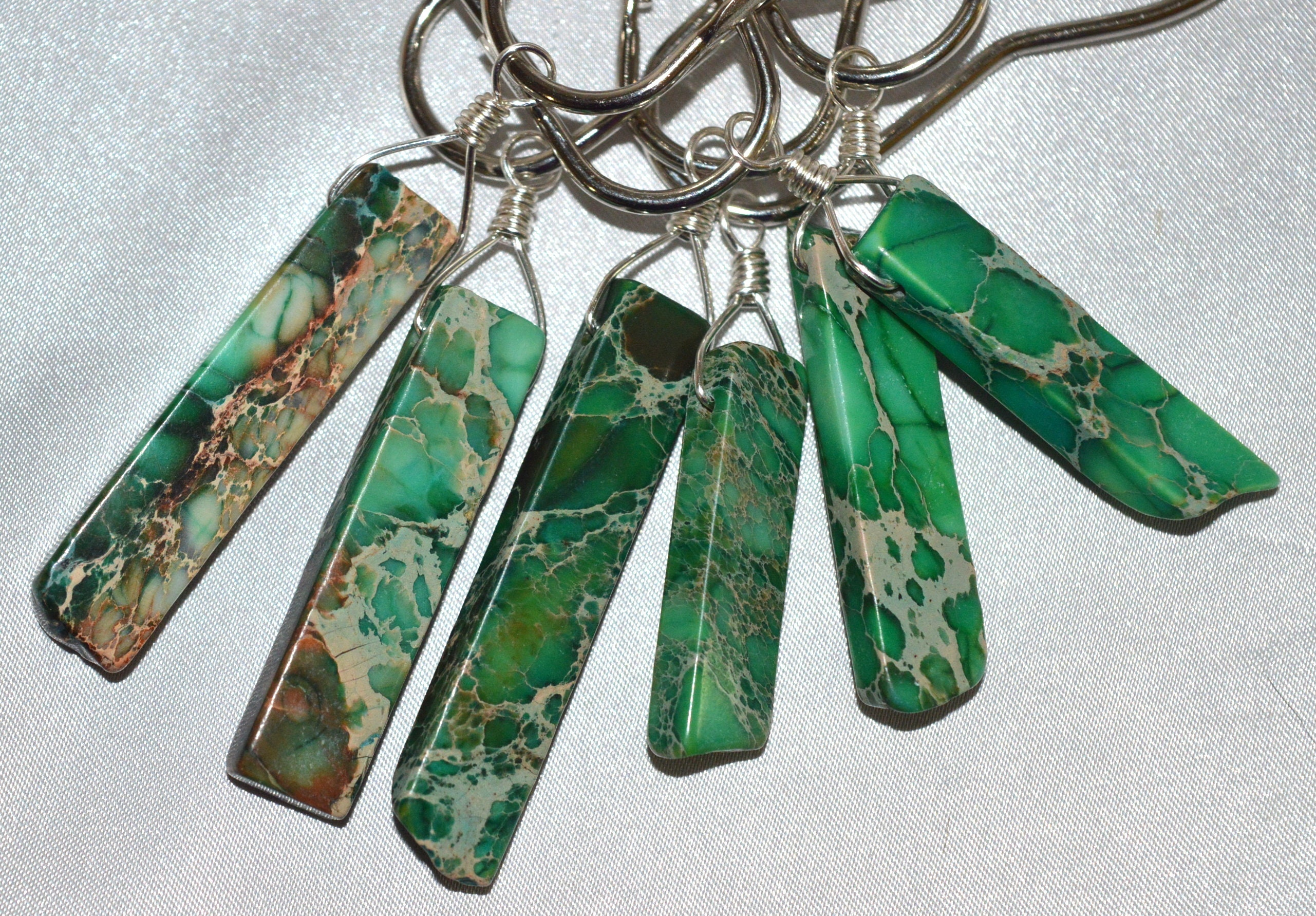 Green Imperial Jasper Shower Curtain Hooks Set Of 12 Silver Wire Wrapped Bale Genuine Stone Regalite Sea Sediment Jasper Christmas