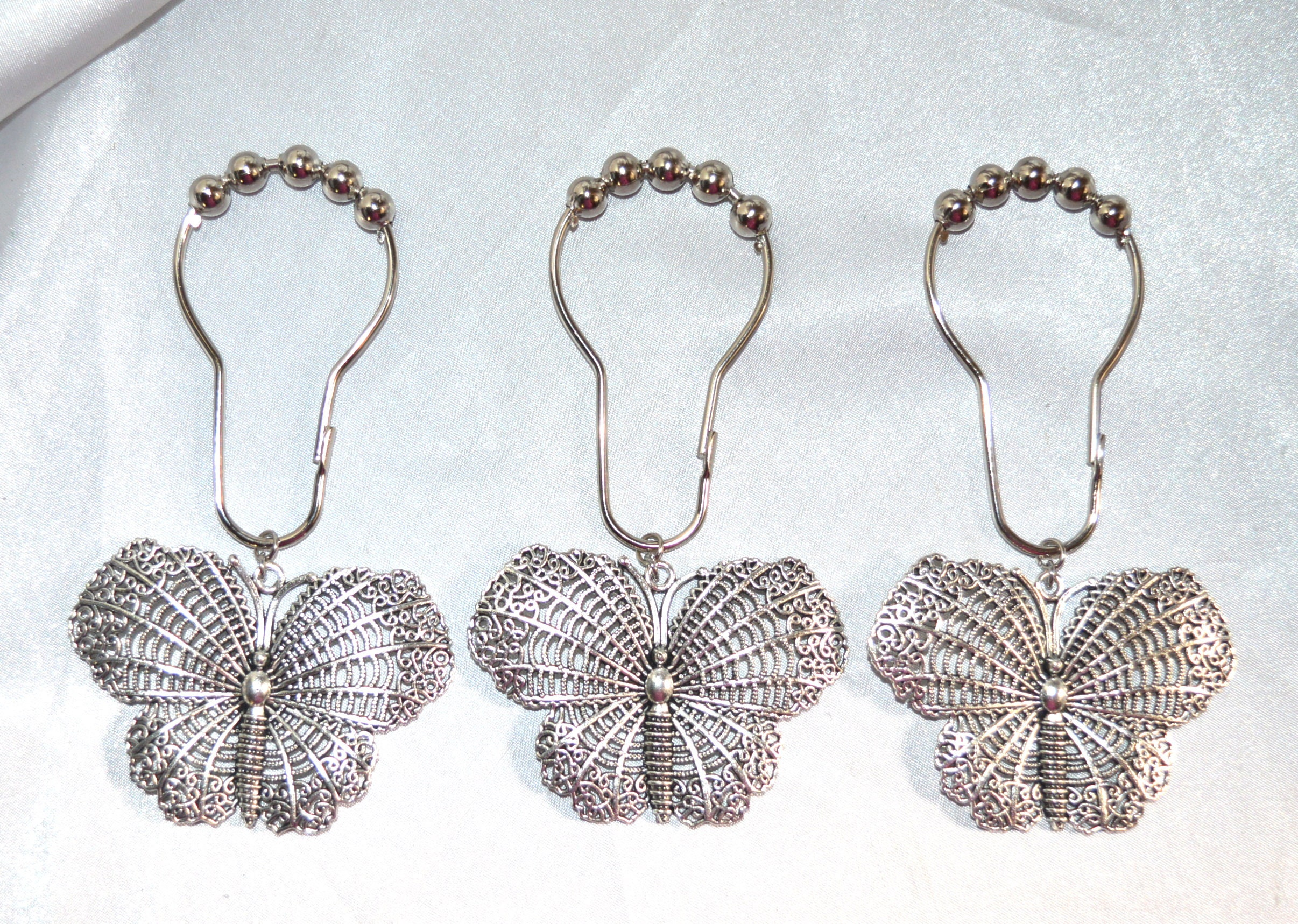 Butterfly Shower Curtain Hooks Silver Filigree Butterflies Set Of 12 Roller Ball Hooks Shower Curtain Rings Garden Nature Insect
