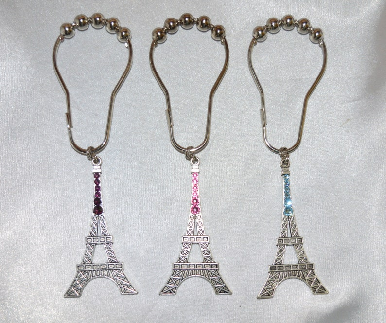 Eiffel Tower Shower Curtain Hooks, Silver, Swarovski Crystals, Handcrafted  Handmade Set Of 12, Parisian Paris France Shabby French Chic