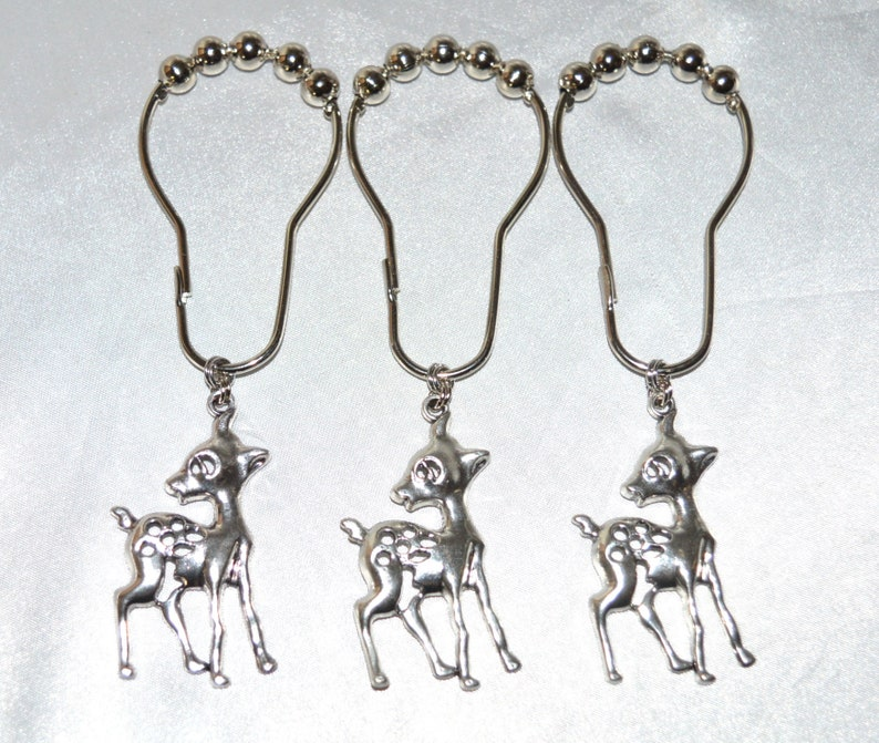 Deer Shower Curtain Hooks Set Of 12 Silver Baby Fawn