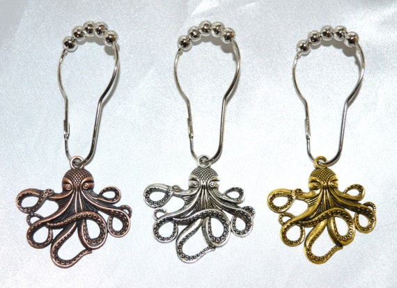 Metal Octopus Shower Curtain Hooks Set Of 12 Copper Or