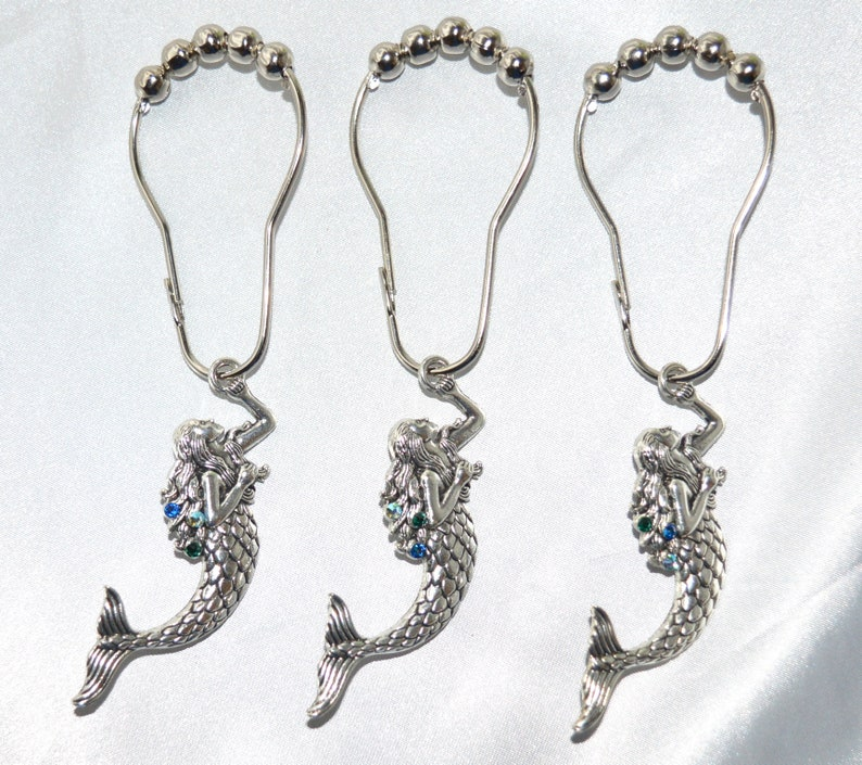 Mermaid Shower Curtain Hooks Silver Swarovski Crystals