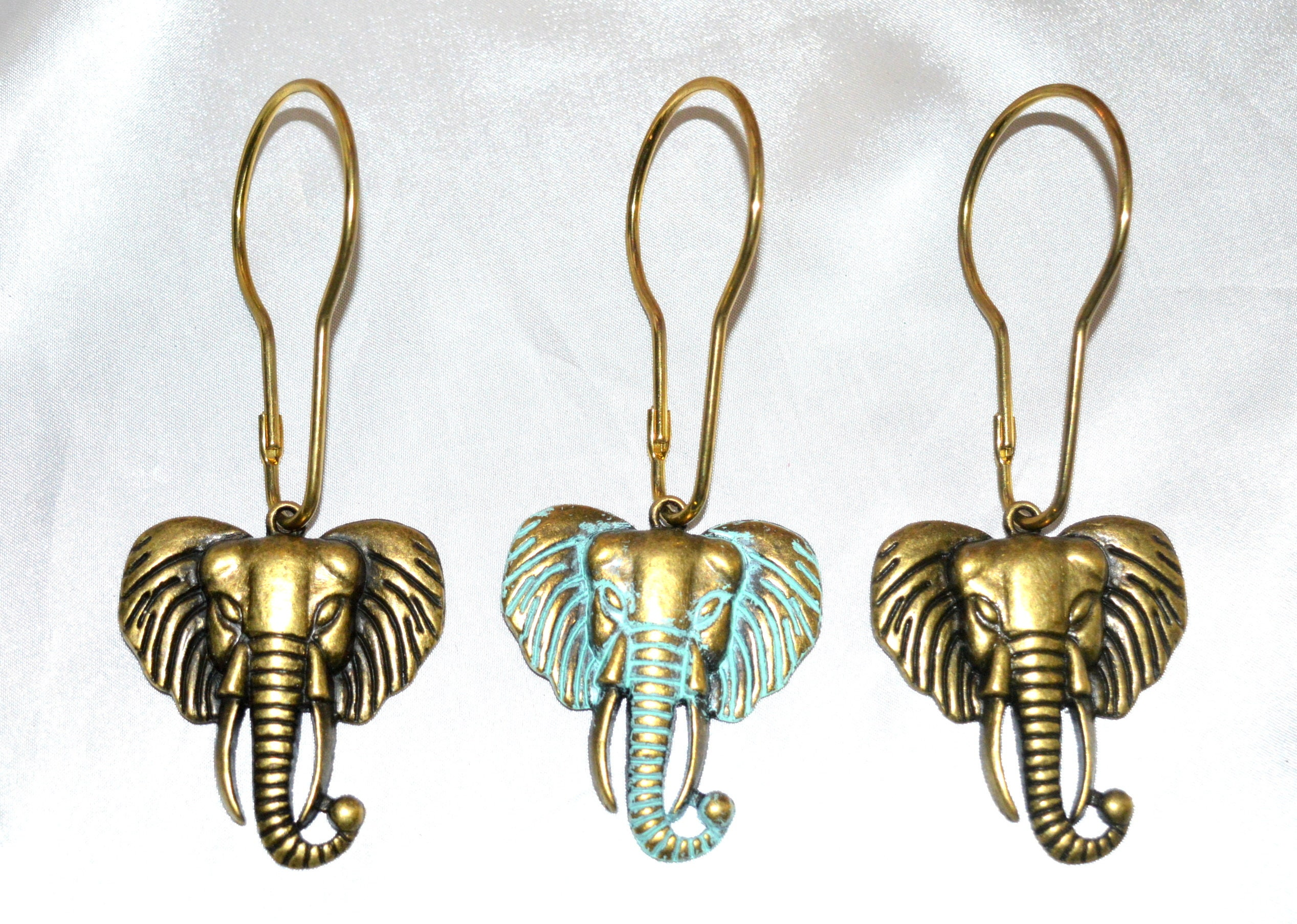 Elephant Shower Curtain Hooks Boho Elephant Head Antique Bronze Realistic Elephant Gorgeous Detail Optional Patina Colors Set Of 12