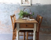 Gorgeous and Substantial Victorian Pine Farmhouse Drop Leaf Table with Cutlery Drawer