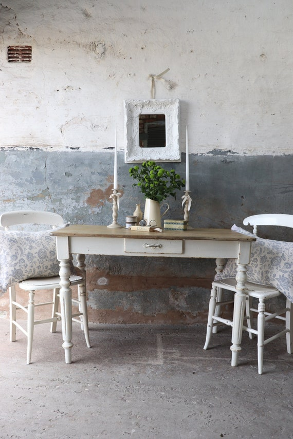 Fabulous Vintage French Kitchen Table with Cutlery Drawer and Original  White Paintwork