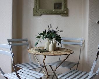 Wonderful Shabby Circular Vintage French Folding Metal Garden Table