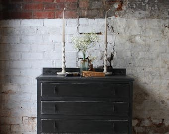Vintage Painted Three-Drawer Chest of Drawers in Noir