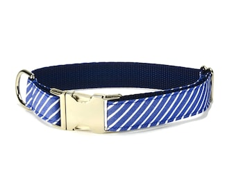 Blue Stripe Dog Collar, Striped Dog Collar, Blue Striped Collar, Preppy Dog Collar, Blue Dog Collar, Blue White Stripe Dog Collar