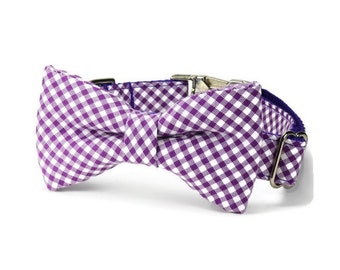 Purple Gingham Dog Bow Tie Collar