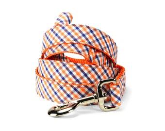 University of Virginia Dog Leash, Orange Navy Gingham Dog Leash, Gingham Dog Leash, Orange Navy Leash, Check Dog Leash, UVA Dog Leash