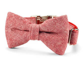 New! Red Washed Linen Bow Tie Dog Collar