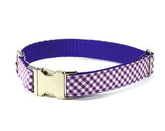 Purple Gingham Dog Collar, Purple Dog Collar, Preppy Dog Collar, Gingham Dog Collar, Large Dog Collar, Checkered Collar, Male Dog Collar