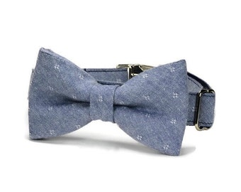 Chambray Diamond Bow Tie Dog Collar