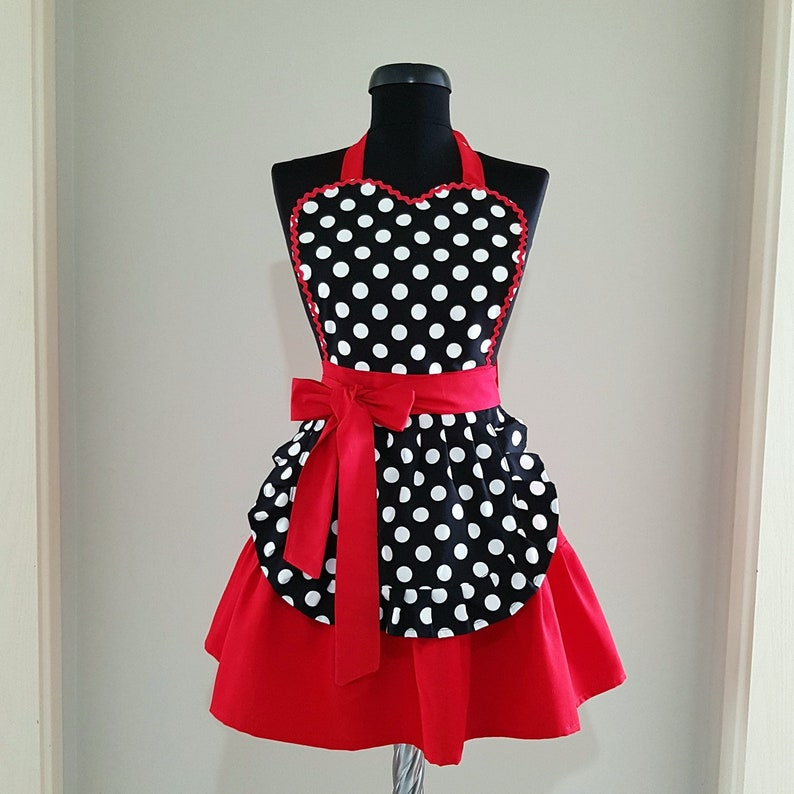 2ab7d3b9a7f Black white polka dot apron for women Red cute cooking apron