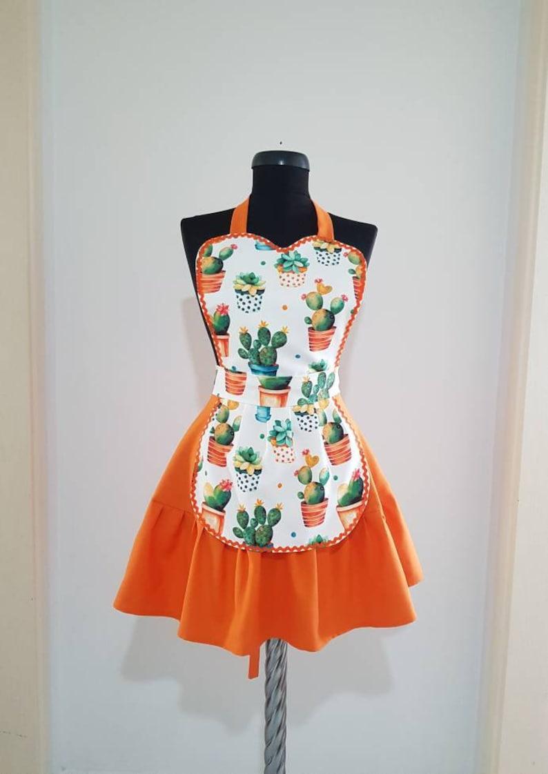 918d5b3cd5c3e Cactus apron , Cute kitchen apron , Aprons for women , Full cooking apron ,  Kitchen pinafore , Retro waterproof aprons , Ruffle aprons