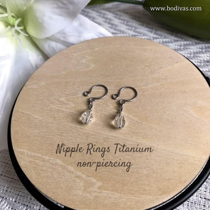 Fake Piercing Nipple Rings For Women \u2013 5 Sizes \u2013 Premium Quality Titanium \u2013 Non-Piercing \u2013 Non-Allergenic Clear Faceted Glass Teardrop