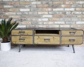Retro Style Low Silhouette Storage Cabinet Wooden TV Stand Metal Construction Metal Legs Media Console 5 Storage Drawers