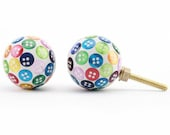 Multi Coloured Shabby Chic Cabinet Door Knob Handle Colourful Button Cupboard Handle