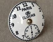 Vintage Ceramic Paris Clock Knob, Ornamental Door Knob with French Paris Clock, Kitchen Cabinet Handle, Cupboard Knob or Drawer Pull
