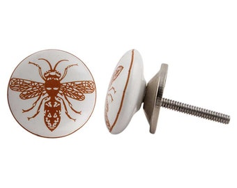 Ceramic Bee Cabinet Knob | White U0026 Brown Cupboard Door Handle, Drawer Pull