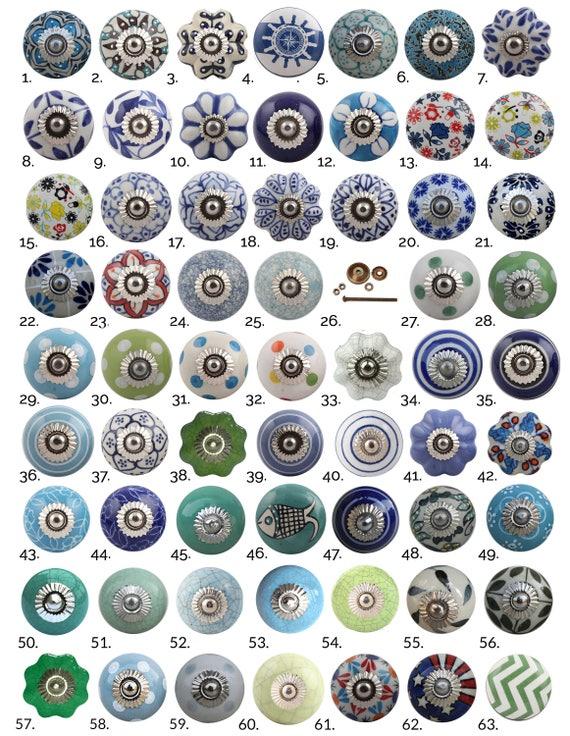 Blue Green Ceramic Cabinet Knobs Furniture Door Knobs   Etsy
