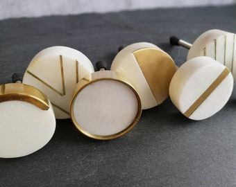Solid Marble and Brass Cupboard Door Handle   Circular White Marble and Gold Brass Drawer Pull