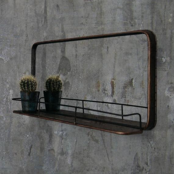 Finitura rame specchio con mensola in difficoltà | Specchio da parete in  metallo industriale