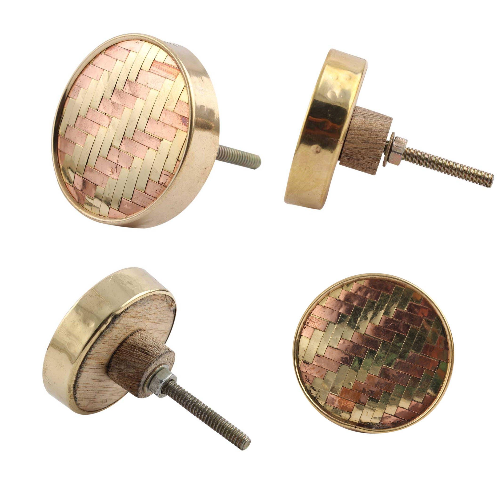 Handgefertigte Kupfer und Gold Gitter Schrank Knopf Metall &