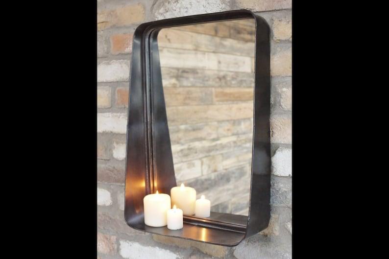 Spiegel Zwart Metaal : Zwart metalen staande spiegel met geïntegreerde drijvende etsy