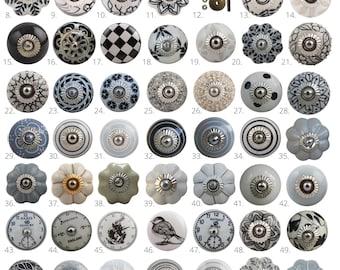 Vintage Style Ceramic Cupboard Door Knobs | Black, White & Grey Kitchen Cabinet Knobs | Drawer Pulls |  Dresser Handles