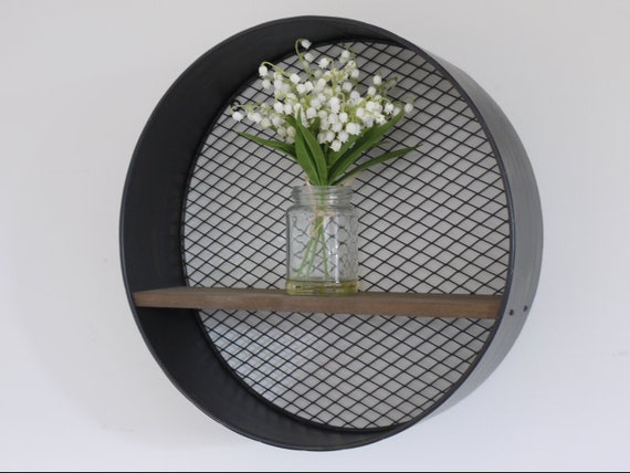 arrives bc32b 49813 Wire Mesh Wall Mounted Circular Shelving Unit | Round Metal & Wood Wall  Display Shelf