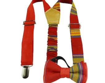 baby suspenders and bow tie,  suspenders and bow tie, kids suspenders, red bow tie, red suspenders, madras bow tie and suspenders, coo-mon