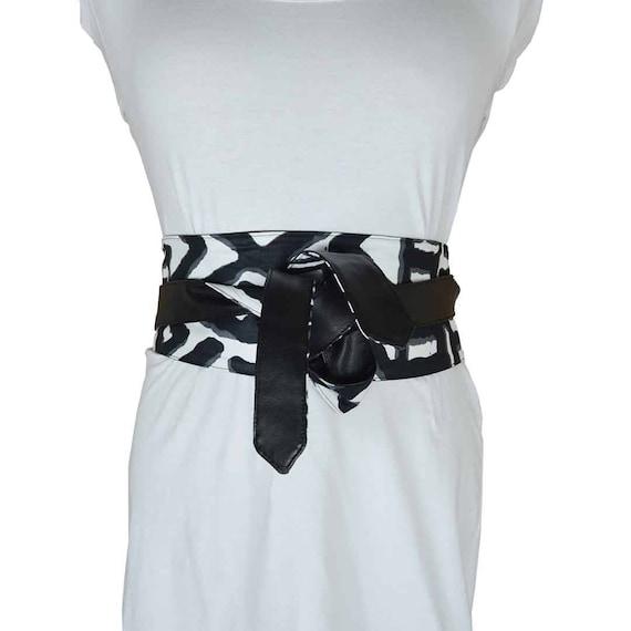 nouveau produit 52f59 0fe1a ceinture obi bogolan, ceinture corset, noire et blanc zébré ceinture à  nouer, ceinture femme, african women, ceinture pagne africain wax