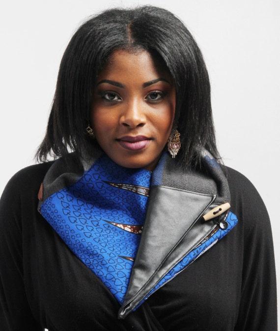ea520407f3bf écharpe enveloppante mélange de laine femme bleu et gris   Etsy