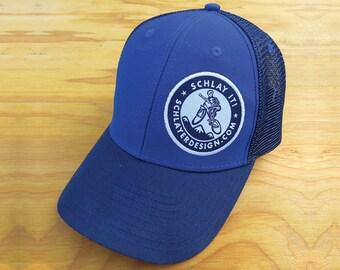 Trucker Hat Schlayer Design Schlay it Blue on blue.