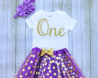 Baby girl first birthday outfit Purple and gold first birthday outfit Purple and gold 1st birthday First birthday Girls first birthday