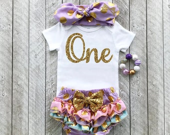Purple and gold first birthday outfit - One year old outfit Baby girl first birthday outfit First birthday outfit First year birthday shirt