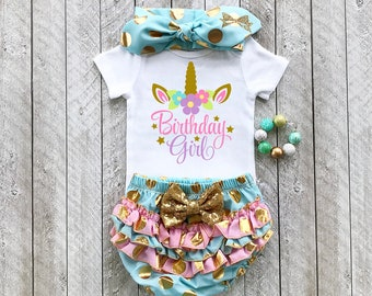 Unicorn birthday outfit Pink and gold tutu Unicorn 1st birthday Pink and gold 1st birthday Baby girl 1st birthday outfit Pink and gold first