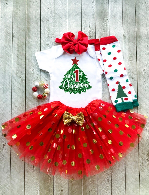 0852ebf3b First Christmas Outfit My First Christmas Baby Girl | Etsy