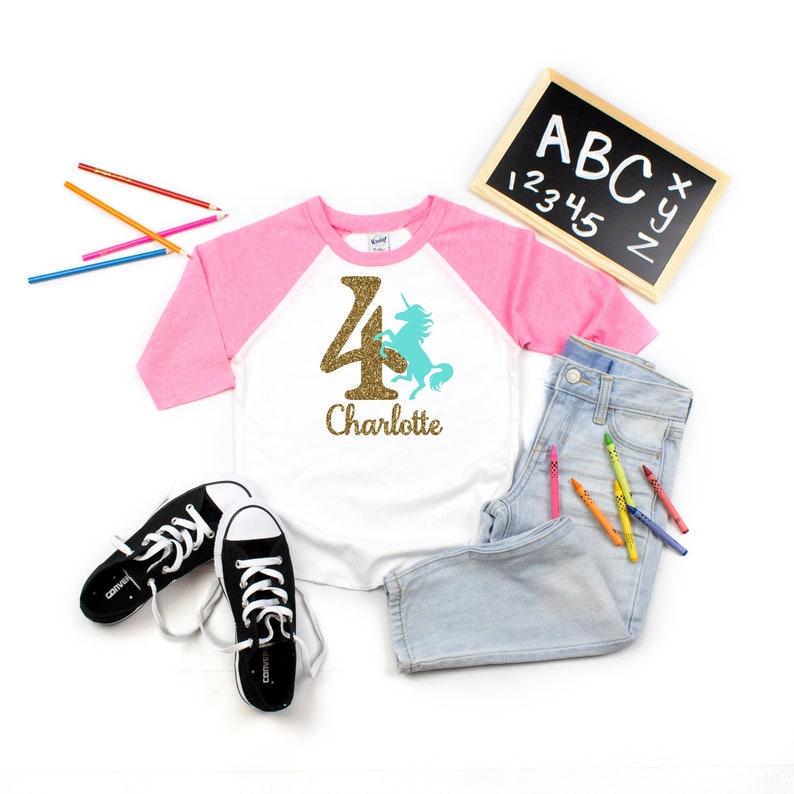 Unicorn 4th Birthday Shirt Girl Girls