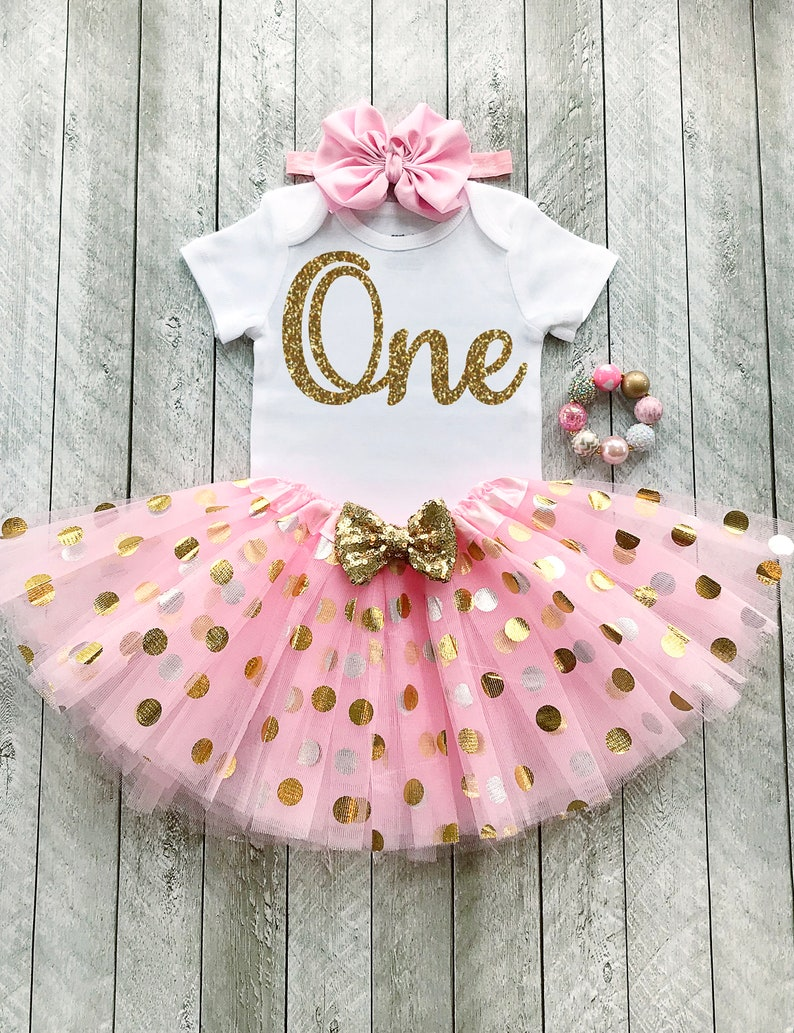 1a4e4f512 Pink and gold first birthday outfit Pink and gold tutu One