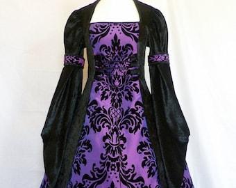 Medieval Dress Gothic black and purple Dress Renaissance wedding Dress Halloween Wedding Pagan Wedding Dress custom made to any size