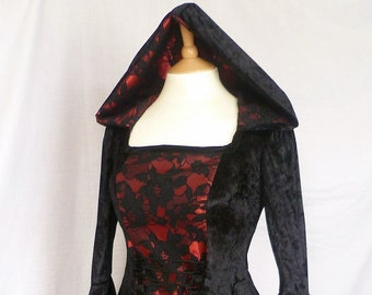 Gothic Hooded  Dress Medieval Gown, Pagan Dress Renaissance wedding Gown fantasy gown Gothic Wedding Black and Red Dress Custom made to size
