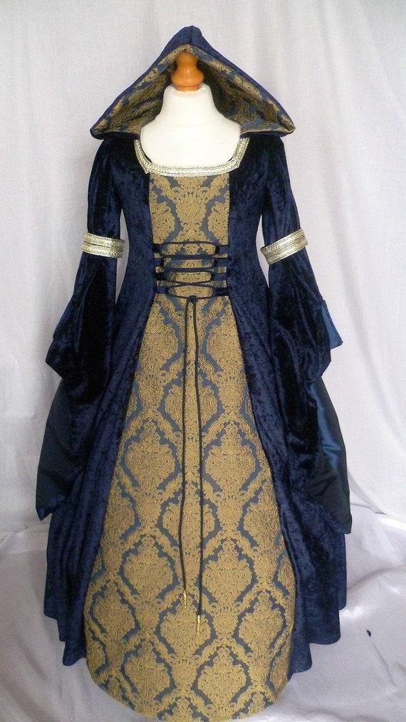 Girls Navy Blue and gold Medieval DressFantasy Dress | Etsy