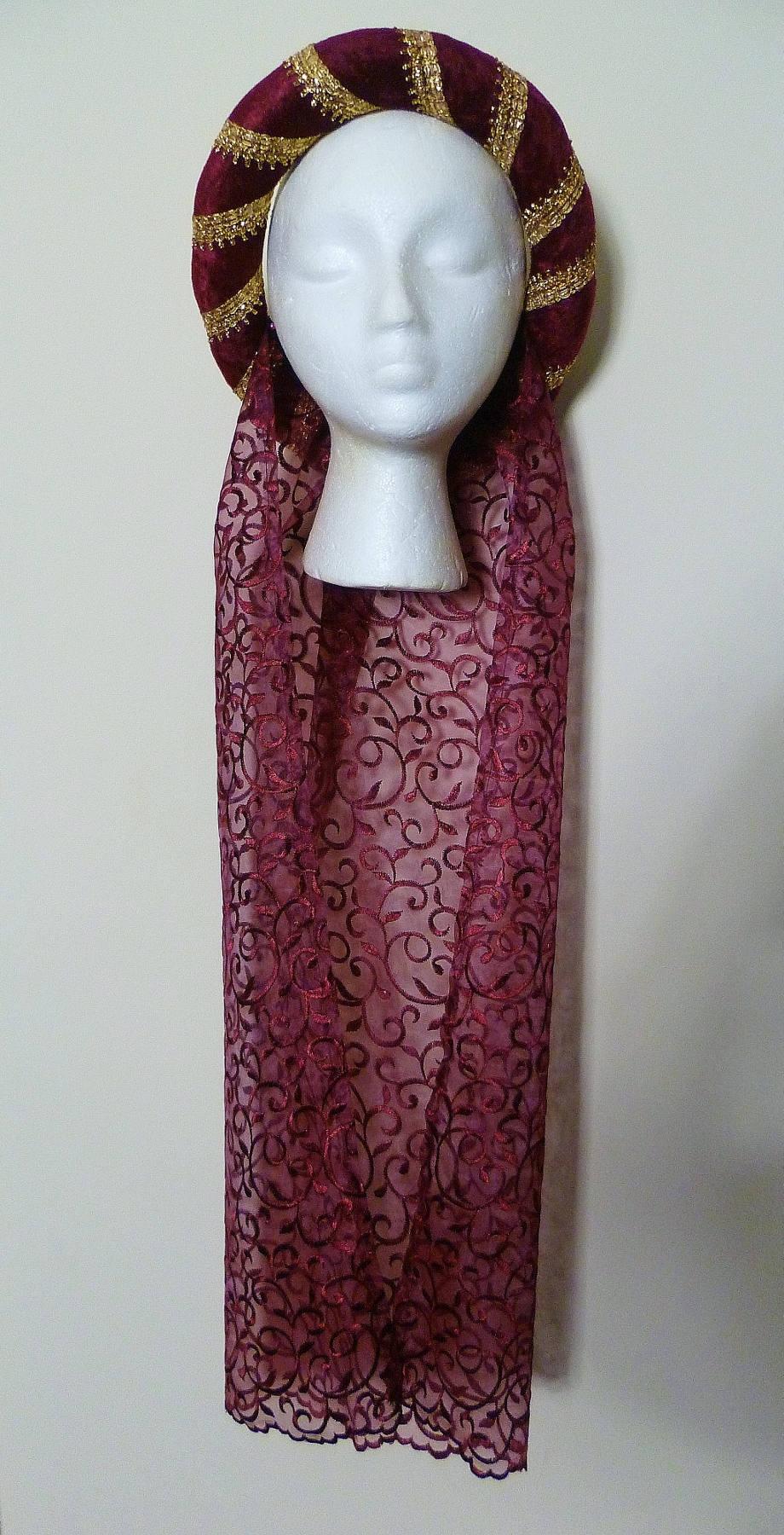 Pagan Headdress Renaissance Circlet Red Medieval Headdress Gothic Circlet made to order dark red embroidered headpiece