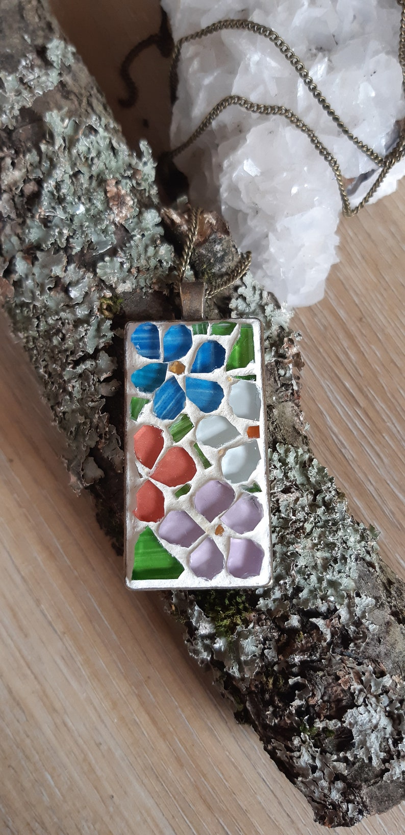 Floral Mosaic Pendant boho, gift for hergift for girls summer necklace free shipping Necklace glass mosaicmosaic art