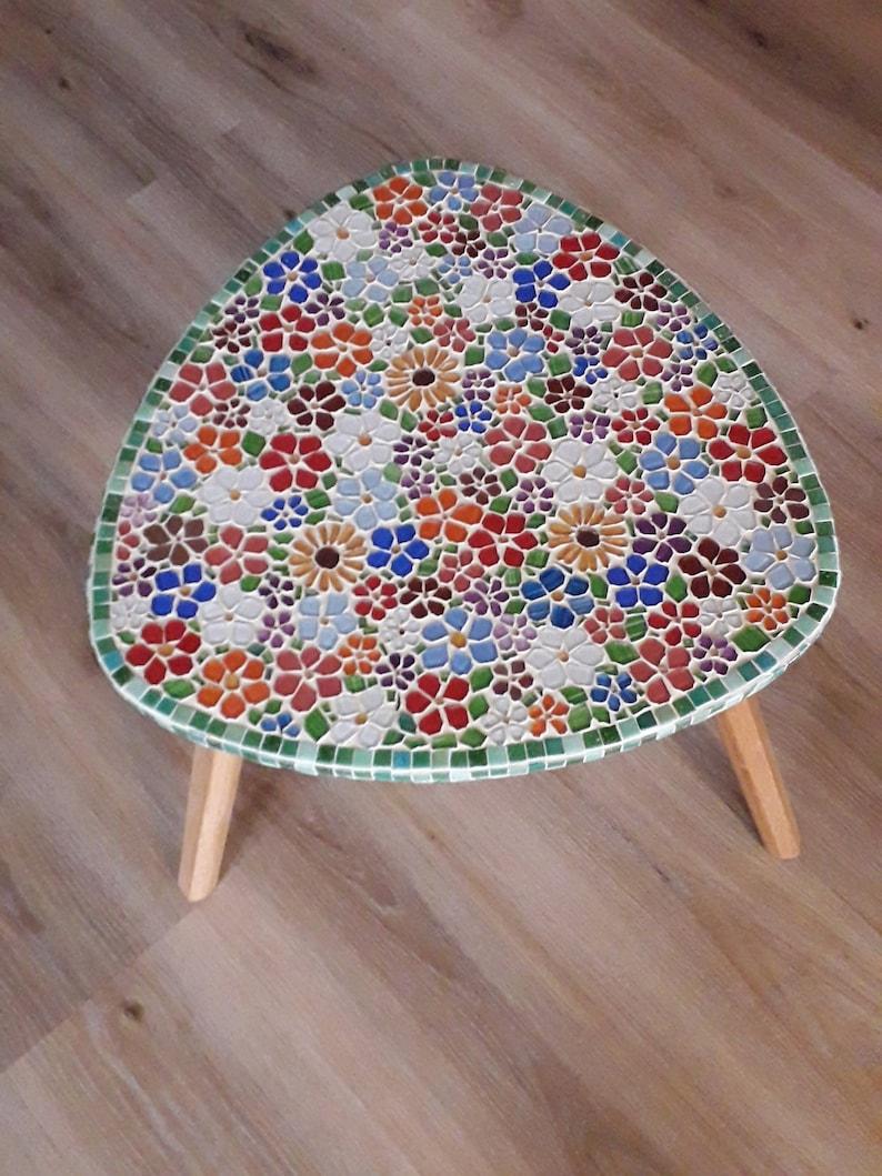 Table basse/mignon verre table fleur mosaïque/petite table/floral table  jardin décor/home décor/mosaïque art fait à la main/superbe/bois/table de  ...