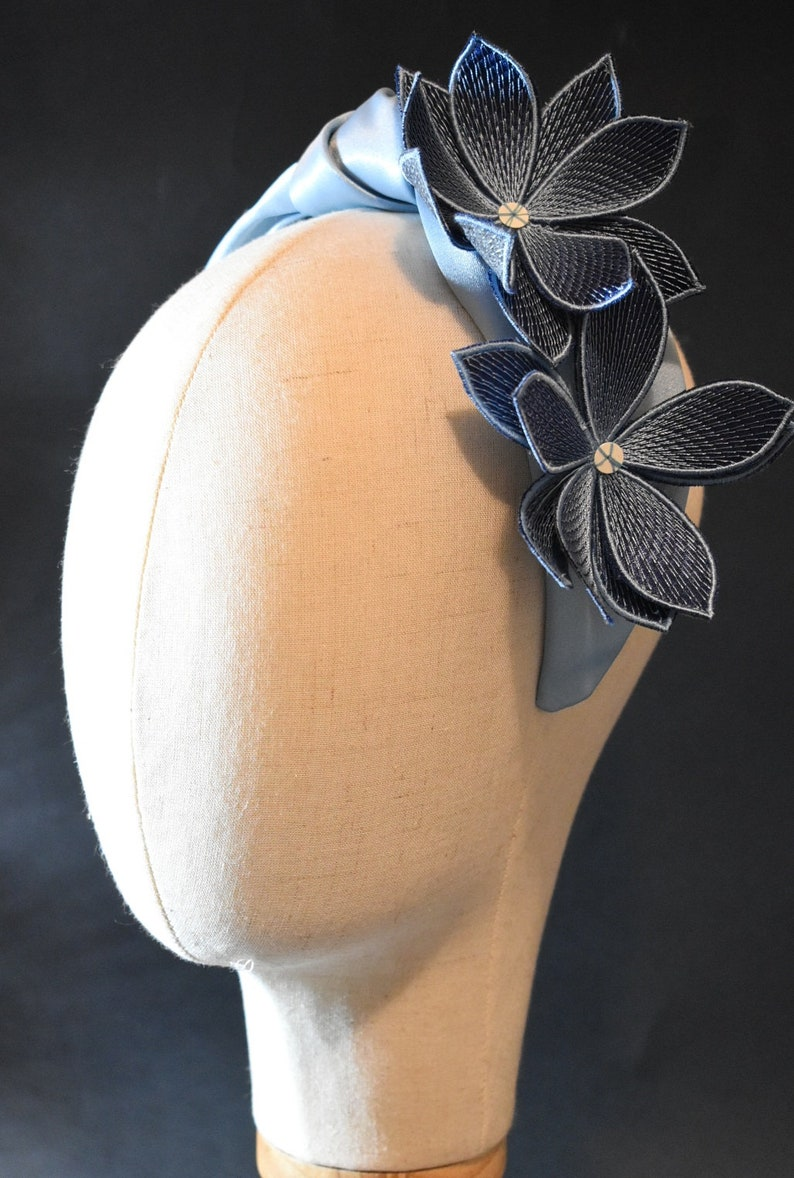Bohemian Bride Large Flower Satin Headband Light Blue Maid of Honor Boho Wedding Lilium Headpiece Formal Embroidered Flower Headpiece