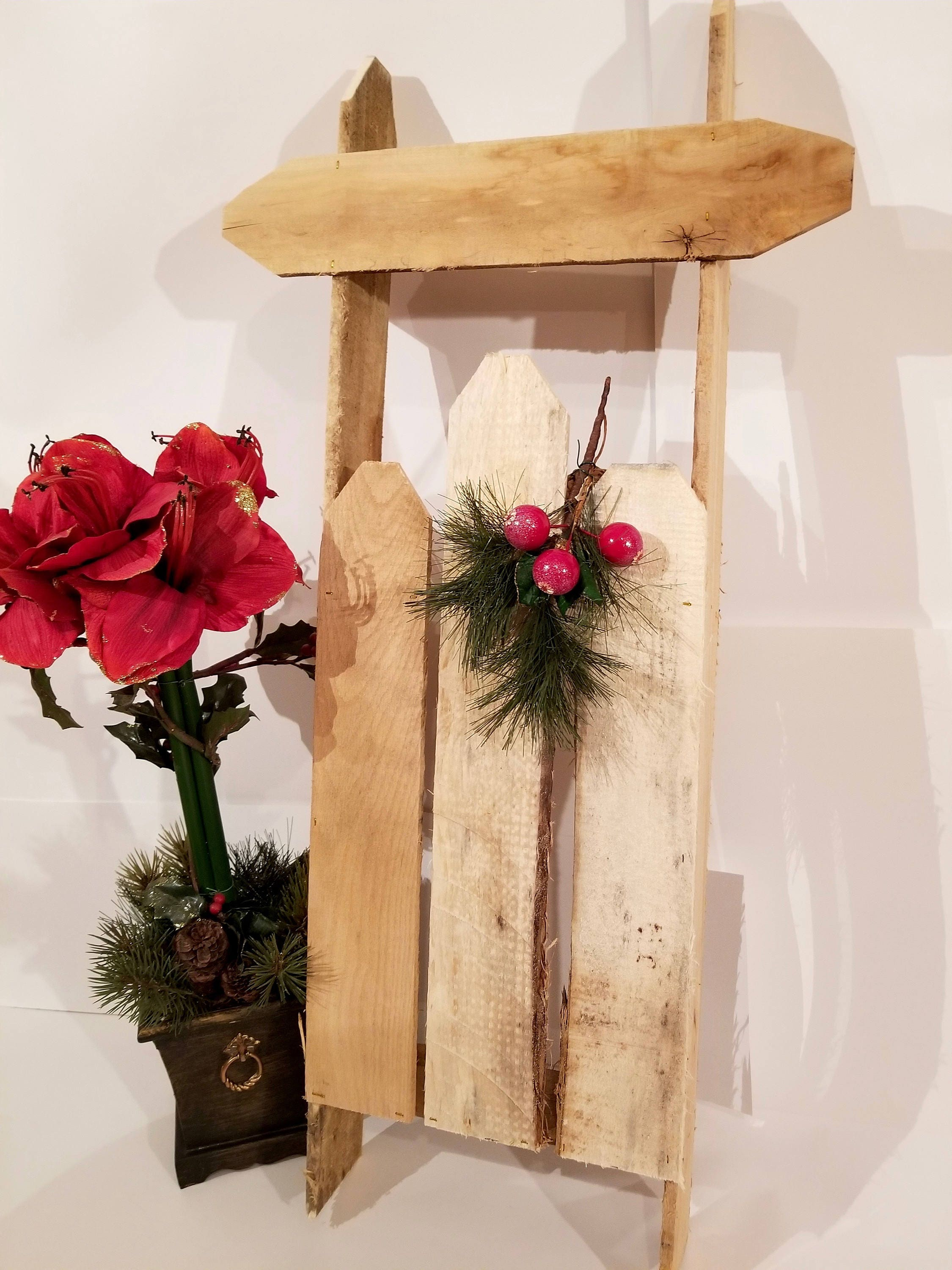 Rustic Christmas Sled Decor Country Sleigh Decoration
