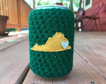 Williamsburg, Virginia Beer Cozy, Coffee Cup Cozy, Reusable Coffee Sleeve, Can Cozy, Bottle Cozy